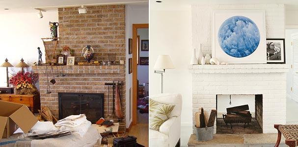 Before After Living Room Painted Fireplace Modern Art From Domino Magazine
